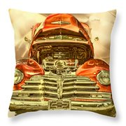 1948 Chev Red Gold Metal Art Throw Pillow