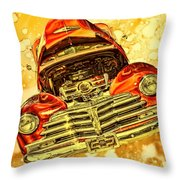 1948 Chevy Gold Acid Art Throw Pillow
