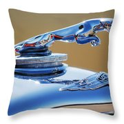 1948 Jaguar 2.5 Litre Drophead Coupe Hood Ornament Throw Pillow