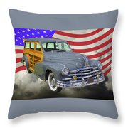 1948 Pontiac Silver Streak Woody And American Flag Throw Pillow