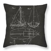 1948 Sailboat Patent Artwork - Gray Throw Pillow