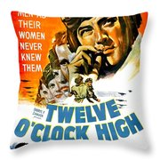 1949 - Twelve O Clock High Movie Poster - Gregory Peck - Dean Jagger - 20th Century Pictures - Color Throw Pillow