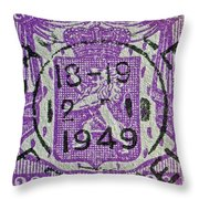 1949 Belgium Stamp - Brussels Cancelled Throw Pillow