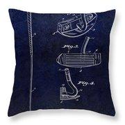 1949 Golf Putter Patent Drawing Blue Throw Pillow