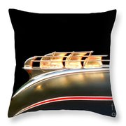 1949 Plymouth Schooner Hood Ornament Throw Pillow by Renee Trenholm