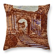 1949 San Francisco Ruins Dominican Republic Stamp Throw Pillow