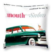 1950 - Plymouth Suburban Station Wagon Automobile Advertisement - Color Throw Pillow