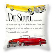 1950 - De Soto Sportsman Convertible - Advertisement - Color Throw Pillow