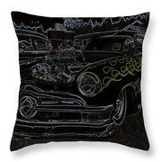 1950 Ford Coupe Neon Glow Throw Pillow