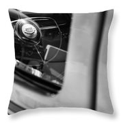 1950 Ford Custom Deluxe Woodie Station Wagon Steering Wheel Emblem Throw Pillow
