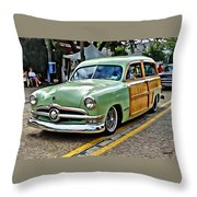 1950 Ford Deluxe Woody Station Wagon Throw Pillow