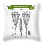 1950 Lacrosse Stick Patent Drawing - Retro Green Throw Pillow