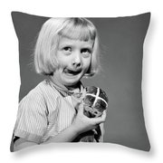 1950s 1960s Blonde Girl Licking Throw Pillow