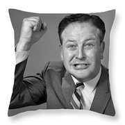 1950s 1960s Portrait Of Angry Man Throw Pillow