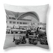 1950s 1960s Propeller Airplane Throw Pillow