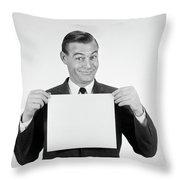 1950s 1960s Smiling Man Funny Facial Throw Pillow