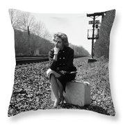 1950s 1960s Woman Sad Worried Facial Throw Pillow