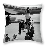 1950s Airplane Boarding Passengers Throw Pillow by Vintage Images