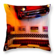 1950s American Diner - Featured In Vehicle Enthusiasts Throw Pillow
