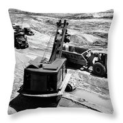 1950s Construction Site Excavation Throw Pillow
