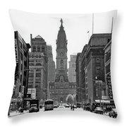 1950s Downtown Philadelphia Pa Usa Throw Pillow
