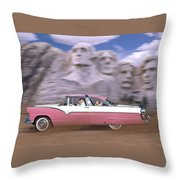 1950s Family Vacation Panoramic Throw Pillow