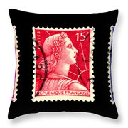 1950s French Postage Triptych Throw Pillow