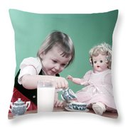 1950s Little Girl Toddler And Baby Doll Throw Pillow