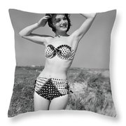 1950s Smiling Young Woman Kneeling Throw Pillow