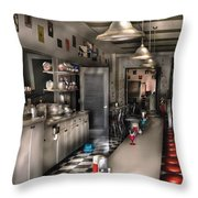 1950's - The Soda Fountain Throw Pillow by Mike Savad