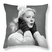 1950s Young Woman Pursing Lips Hands Throw Pillow