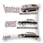 1951 - Kaiser Frazer Manhattan Automobile Advertisement - Color Throw Pillow