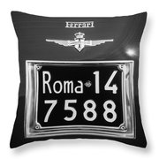 1951 Ferrari 212 Export Berlinetta Rear Emblem - License Plate -0775bw Throw Pillow