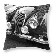 1951 Jaguar Xk120 In Black And White Throw Pillow