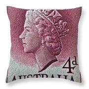1952-1958 Australia Queen Elizabeth II Stamp Throw Pillow