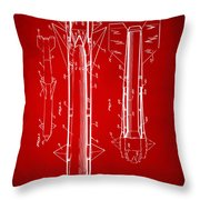 1953 Aerial Missile Patent Red Throw Pillow by Nikki Marie Smith