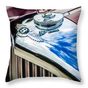 1953 Bentley R-type Hood Ornament - Emblem -0790c Throw Pillow