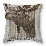 1953 Canada Moose Stamp Throw Pillow