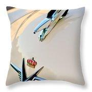 1953 Chrysler Imperial Custom Hood Ornament Throw Pillow