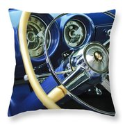 1953 Desoto Firedome Convertible Steering Wheel Emblem Throw Pillow