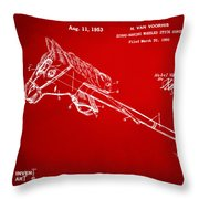 1953 Horse Toy Patent Artwork Red Throw Pillow by Nikki Marie Smith