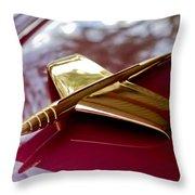 1953 Kaiser Golden Dragon Hood Ornament 3 Throw Pillow