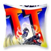 1954 - Assen Tt Motorcycle Poster - Color Throw Pillow