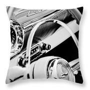 1954 Chevrolet Belair Steering Wheel Emblem -1535bw Throw Pillow