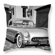1954 Chevrolet Corvette -183bw Throw Pillow