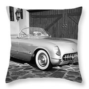 1954 Chevrolet Corvette -203bw Throw Pillow