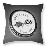 1954 Chevrolet Corvette Emblem -052bw Throw Pillow