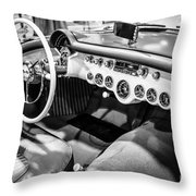 1954 Chevrolet Corvette Interior Black And White Picture Throw Pillow