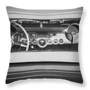 1954 Chevrolet Corvette Steering Wheel -139bw Throw Pillow
