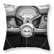 1954 Chevrolet Corvette Steering Wheel -382bw Throw Pillow